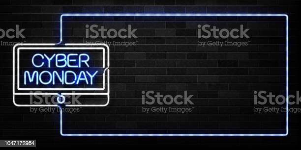 Vector Realistic Isolated Neon Sign Of Cyber Monday Frame Logo For Decoration And Covering On The Wall Background Concept Of Electronics Market Sale And Discount — стоковая векторная графика и другие изображения на тему Баннер - знак