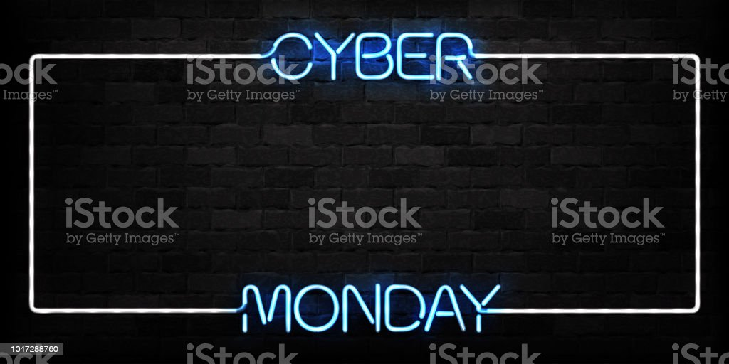 Vector realistic isolated neon sign of Cyber Monday frame logo for decoration and covering on the wall background. Concept of electronics market, sale and discount. Vector realistic isolated neon sign of Cyber Monday frame logo for decoration and covering on the wall background. Concept of electronics market, sale and discount. Advertisement stock vector