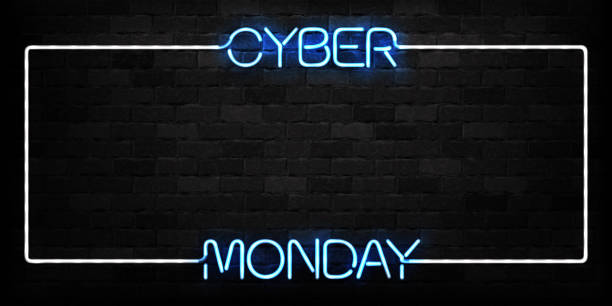 vector realistic isolated neon sign of cyber monday frame logo for decoration and covering on the wall background. concept of electronics market, sale and discount. - cyber monday stock illustrations