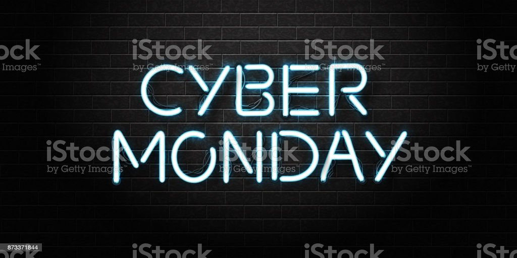 Vector realistic isolated neon sign of Cyber Monday lettering for decoration and covering on the wall background. Concept of sale and discount. royalty-free vector realistic isolated neon sign of cyber monday lettering for decoration and covering on the wall background concept of sale and discount stock illustration - download image now