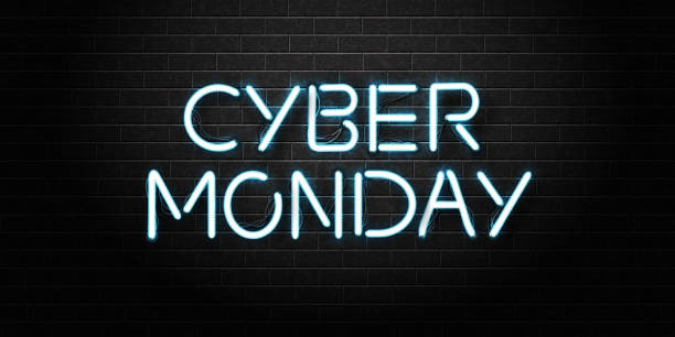 vector realistic isolated neon sign of cyber monday lettering for decoration and covering on the wall background. concept of sale and discount. - cyber monday stock illustrations