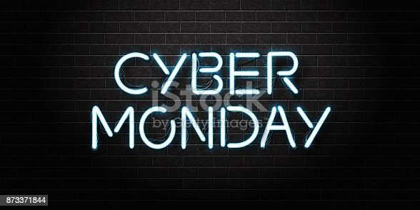 Vector Realistic Isolated Neon Sign Of Cyber Monday Lettering For Decoration And Covering On The Wall Background Concept Of Sale And Discount Stock Vector Art & More Images of Advertisement