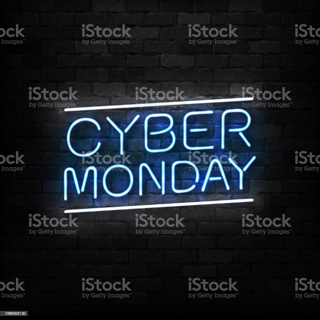 Vector realistic isolated neon sign of Cyber Monday logo for decoration and covering on the wall background. Concept of electronics market, sale and discount. - Векторная графика Баннер - знак роялти-фри