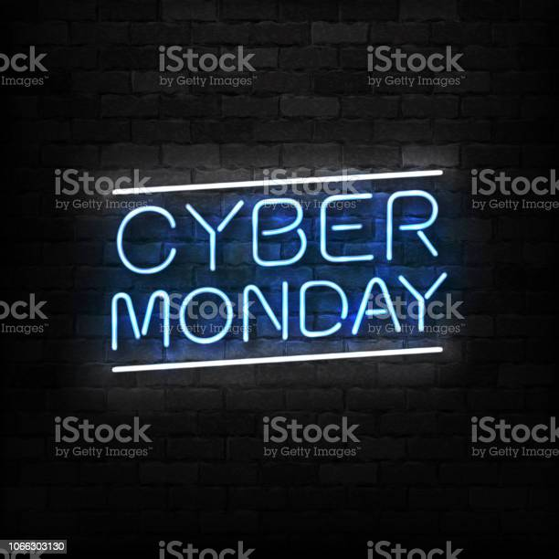 Vector Realistic Isolated Neon Sign Of Cyber Monday Logo For Decoration And Covering On The Wall Background Concept Of Electronics Market Sale And Discount — стоковая векторная графика и другие изображения на тему Баннер - знак