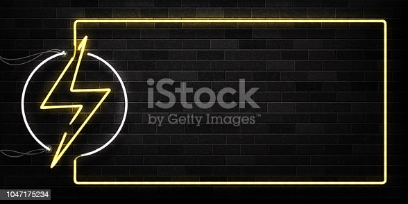 istock Vector realistic isolated neon sign of Electricity frame logo for decoration and covering on the wall background. Concept of lightning and energy. 1047175234