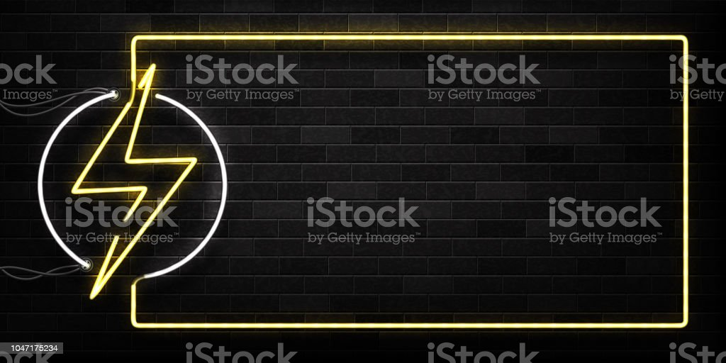 Vector realistic isolated neon sign of Electricity frame logo for decoration and covering on the wall background. Concept of lightning and energy. vector art illustration