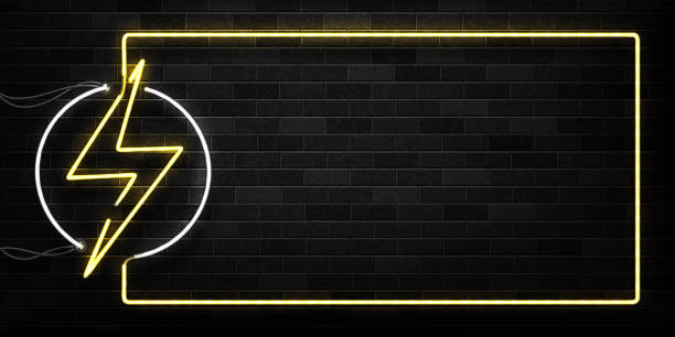 ilustrações de stock, clip art, desenhos animados e ícones de vector realistic isolated neon sign of electricity frame logo for decoration and covering on the wall background. concept of lightning and energy. - elétrico