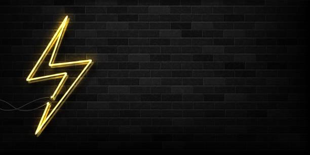 illustrations, cliparts, dessins animés et icônes de vector réaliste isolé au néon du logo d'électricité pour la décoration et la couverture sur le fond du mur. concept de foudre et de l'énergie. longue bannière de publicité et de promotion. - éclairage au flash
