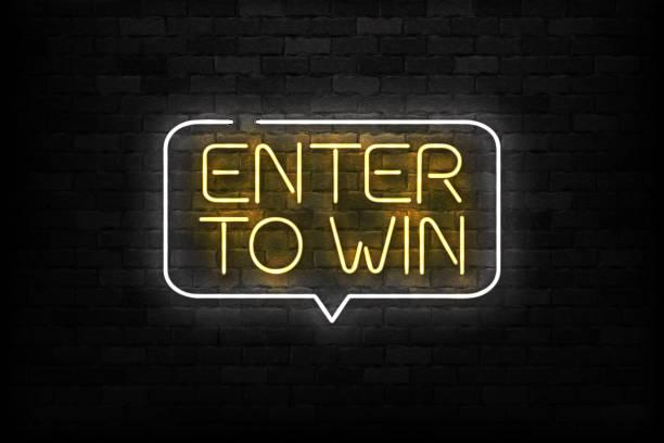 illustrazioni stock, clip art, cartoni animati e icone di tendenza di vettore realistico segno al neon isolato del logo enter to win per la decorazione e la copertura sullo sfondo della parete. concetto di bonus e premio. - entrare