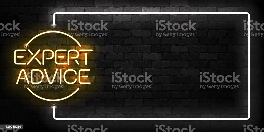 Vector realista isolado de néon do símbolo de quadro Expert conselhos para decoração modelo e layout cobrindo sobre o fundo da parede. - ilustração de arte em vetor