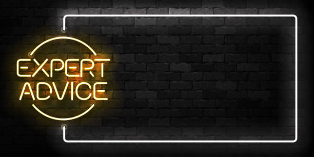 ilustrações, clipart, desenhos animados e ícones de vector realista isolado de néon do símbolo de quadro expert conselhos para decoração modelo e layout cobrindo sobre o fundo da parede. - assistente jurídico
