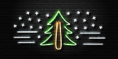 Vector realistic isolated neon sign of fir tree and snow for decoration and covering on the wall background. Concept of Happy Christmas and Happy New Year.