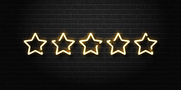 Vector realistic isolated neon sign of five golden stars for decoration and covering on the wall background. Concept of vip, luxury and rating. Vector realistic isolated neon sign of five golden stars for decoration and covering on the wall background. Concept of vip, luxury and rating. celebrities stock illustrations