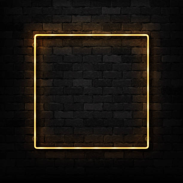 Vector realistic isolated neon sign of frame for template and layout on the wall background. vector art illustration
