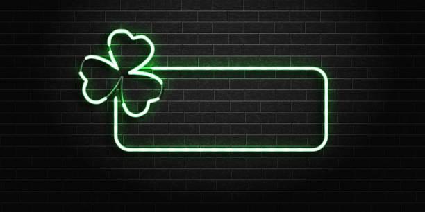 Realistische Vektor isoliert Leuchtreklame des Rahmens mit Kleeblatt für Dekoration und Verkleidung auf der Wand-Hintergrund. Konzept der Happy St. Patricks Day. – Vektorgrafik