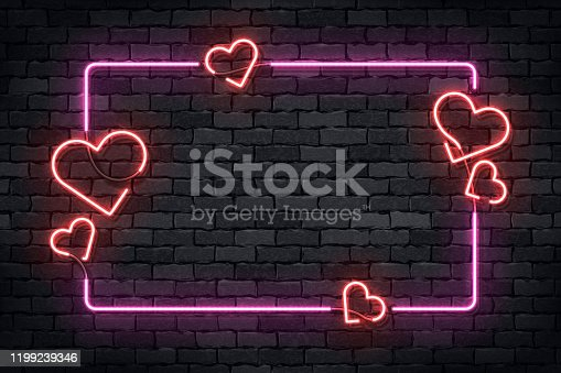 istock Vector realistic isolated neon sign of frame with hearts for template decoration and layout covering on the wall background. Concept of Happy Valentines Day. 1199239346