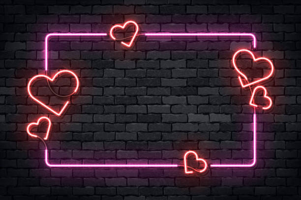 ilustrações de stock, clip art, desenhos animados e ícones de vector realistic isolated neon sign of frame with hearts for template decoration and layout covering on the wall background. concept of happy valentines day. - sensualidade
