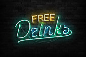 Vector realistic isolated neon sign of Free Drinks typography symbol for template decoration and covering on the wall background. Concept of Happy Hour.