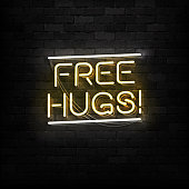 Vector realistic isolated neon sign of Free Hugs logo for template decoration and layout covering on the wall background. Concept of Happy Valentines Day.