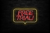 Vector realistic isolated neon sign of Free Trial logo for template decoration and layout covering on the wall background.
