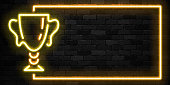 Vector realistic isolated neon sign of Golden Cup trophy frame icon for template decoration and invitation covering on the wall background. Concept of winning, award ceremony and jackpot.