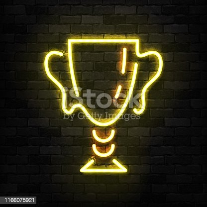 Vector realistic isolated neon sign of Golden Cup trophy logo for decoration and covering on the wall background. Concept of winning, award ceremony and jackpot.
