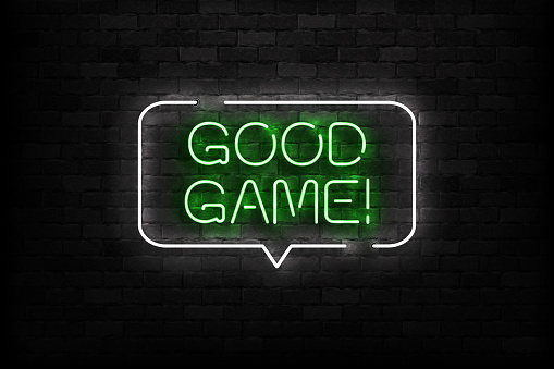 Vector Realistic Isolated Neon Sign Of Good Game Logo For Template  Decoration And Covering On The Wall Background Concept Of Gaming Stock  Illustration - Download Image Now - iStock