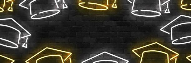 Vector realistisch isoliertes Neonschild von Graduation Flyer für Schablone Dekoration und Einladungslayout auf der Wand Hintergrund. – Vektorgrafik