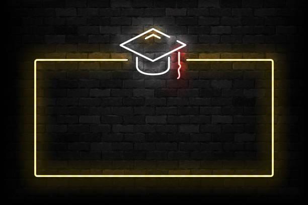 Vector realistisch isoliertes Neonschild von Graduation Frame Logo für Schablone Dekoration und Layout auf der Wand Hintergrund. – Vektorgrafik