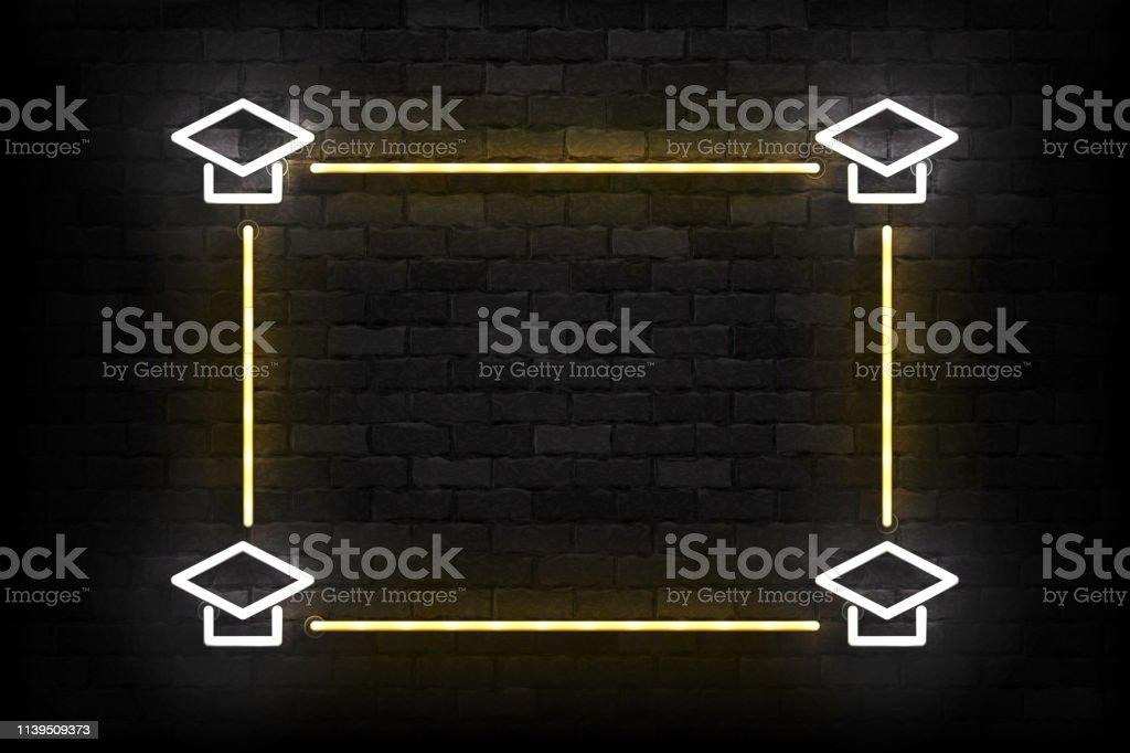 Vector realistisch isoliertes Neonschild von Graduation Frame Logo für Schablone Dekoration und Einladungslayout auf der Wand Hintergrund. – Vektorgrafik