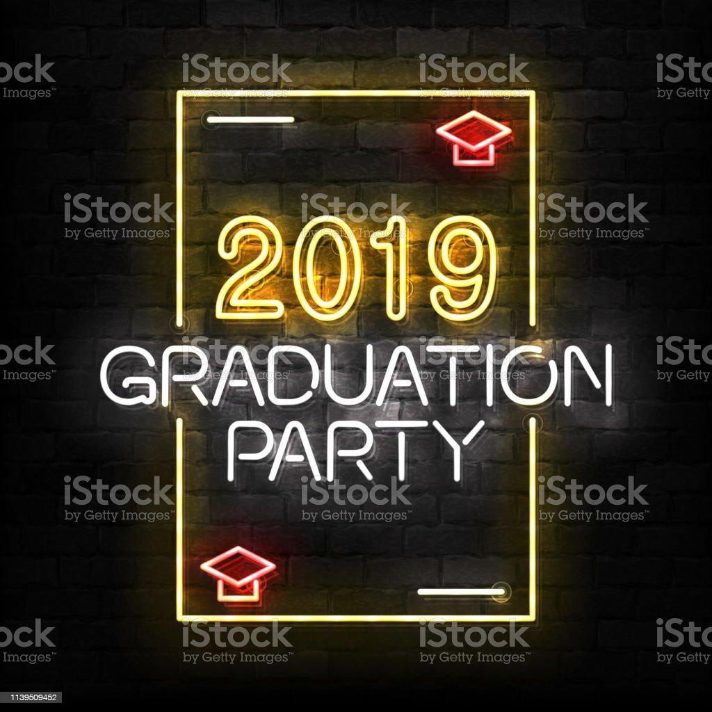 Vector realistisch isoliertes Neonschild von Graduations-Logo für Schablonen-Dekoration und Einladungslayout auf dem Wandhintergrund. – Vektorgrafik