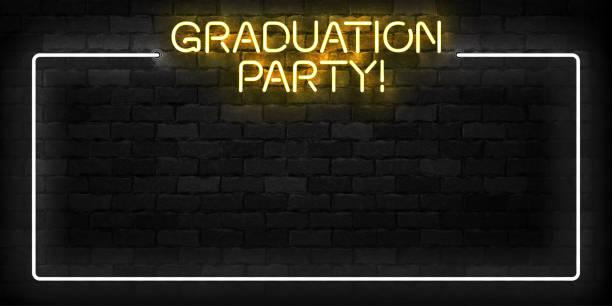 Vector realistisch isoliertes Neonschild von Graduation Party-Rahmensymbol für Schablon-Dekoration und Einladungslayout auf dem Wandhintergrund. – Vektorgrafik