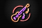 Vector realistic isolated neon sign of guitar and notes for decoration and covering on the wall background. Concept of live music, dj and live concert.