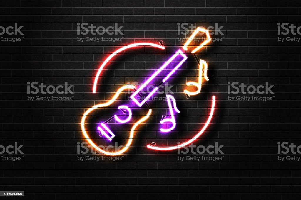 Vector realistic isolated neon sign of guitar and notes for decoration and covering on the wall background. Concept of live music, dj and live concert. vector art illustration