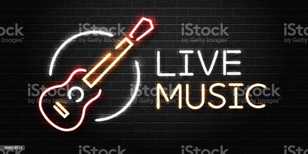 Vector realistic isolated neon sign of guitar for decoration and covering on the wall background. Concept of live music, dj and live concert.