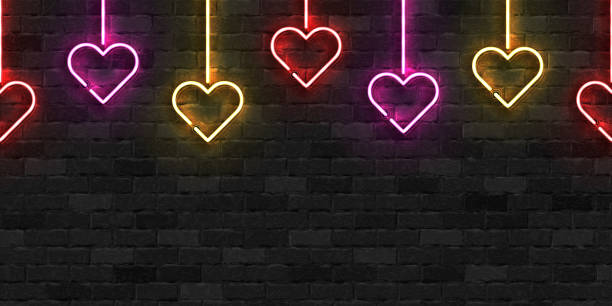Vector realistic isolated neon sign of Hanging Heart seamless pattern symbol for template decoration and layout covering on the wall background. Concept of Happy Valentines Day. Vector realistic isolated neon sign of Hanging Heart seamless pattern symbol for template decoration and layout covering on the wall background. Concept of Happy Valentines Day. boyfriend stock illustrations