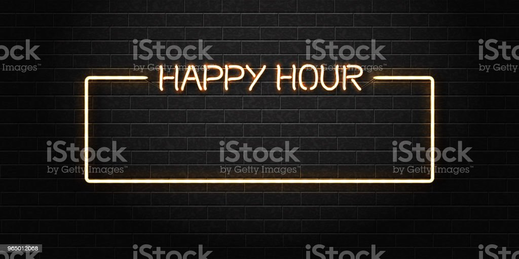 Vector realistic isolated neon sign of Happy Hour frame for decoration and covering on the wall background. Concept of night club, free drinks, bar counter and restaurant. vector art illustration