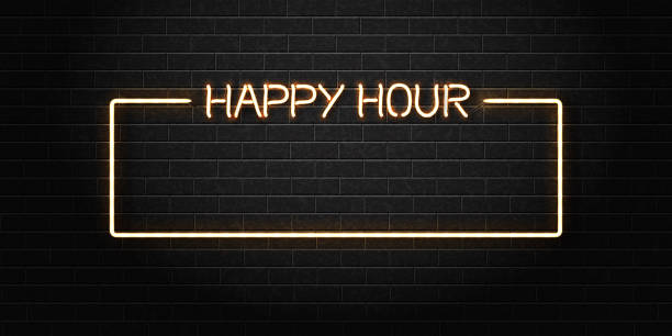 vector realistic isolated neon sign of happy hour frame for decoration and covering on the wall background. concept of night club, free drinks, bar counter and restaurant. - happy hour stock illustrations, clip art, cartoons, & icons