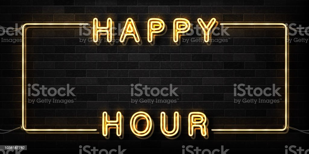 Vector realistic isolated neon sign of Happy Hour frame logo for decoration and covering on the wall background. Concept of night club, free drinks, bar counter and restaurant. vector art illustration
