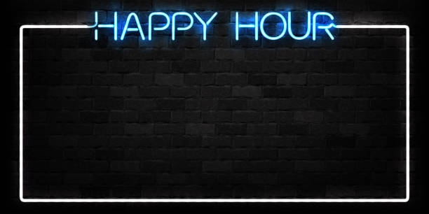 vector realistic isolated neon sign of happy hour frame logo for decoration and covering on the wall background. concept of night club, free drinks, bar counter and restaurant. - happy hour stock illustrations, clip art, cartoons, & icons