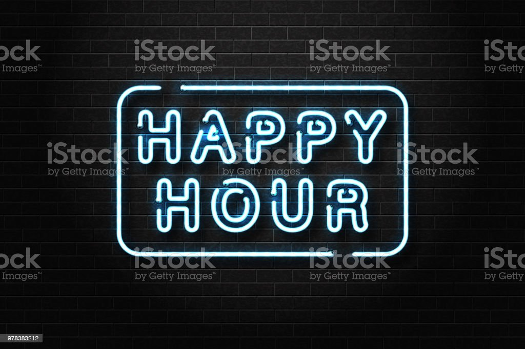 Vector realistic isolated neon sign of Happy Hour lettering logo for decoration and covering on the wall background. Concept of night club, free drinks, bar counter and restaurant. vector art illustration