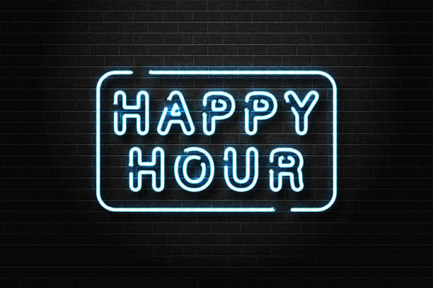 vector realistic isolated neon sign of happy hour lettering logo for decoration and covering on the wall background. concept of night club, free drinks, bar counter and restaurant. - happy hour stock illustrations, clip art, cartoons, & icons