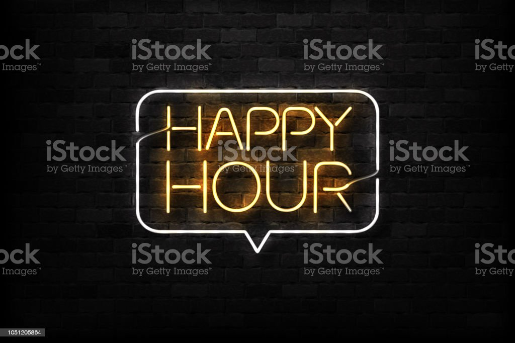 Vector realistic isolated neon sign of Happy Hour logo for decoration and covering on the wall background. Concept of night club, free drinks, bar counter and restaurant. vector art illustration