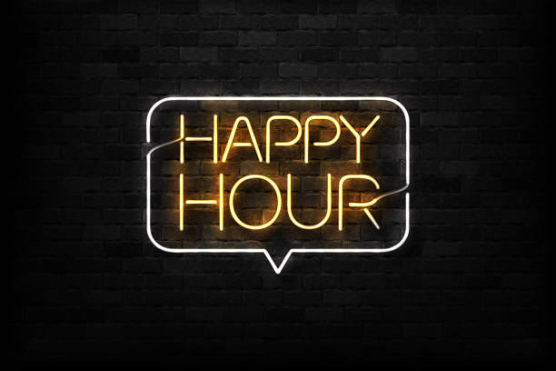 vector realistic isolated neon sign of happy hour logo for decoration and covering on the wall background. concept of night club, free drinks, bar counter and restaurant. - happy hour stock illustrations, clip art, cartoons, & icons