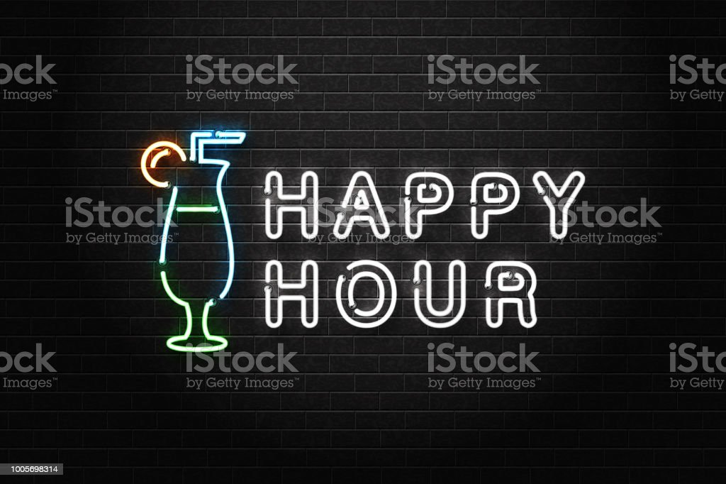 Vector realistic isolated neon sign of Happy Hour logo with cocktail for decoration and covering on the wall background. Concept of night club, free drinks, bar counter and restaurant. vector art illustration