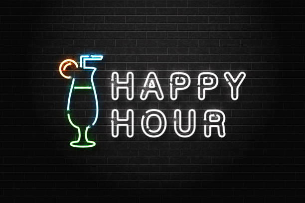 vector realistic isolated neon sign of happy hour logo with cocktail for decoration and covering on the wall background. concept of night club, free drinks, bar counter and restaurant. - happy hour stock illustrations, clip art, cartoons, & icons