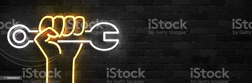 Vector realista de neón aislado signo de logotipo de viajero feliz día de trabajo para la decoración de la plantilla y el diseño que cubre en el fondo de la pared. - ilustración de arte vectorial
