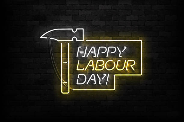 vector realistic isolated neon sign of happy labour day logo for template decoration and covering on the wall background. - may day stock illustrations, clip art, cartoons, & icons