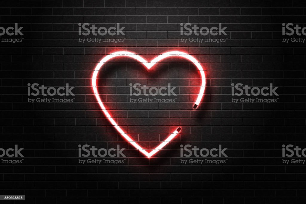 Vector realistic isolated neon sign of heart for decoration and covering on the wall background.
