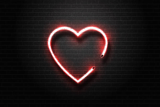 Vector realistic isolated neon sign of heart for decoration and covering on the wall background. Vector realistic isolated neon sign of heart for decoration and covering on the wall background. sensuality stock illustrations